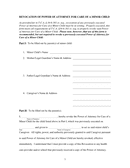 Revocation of power of attorney for care of a minor child page 1 preview