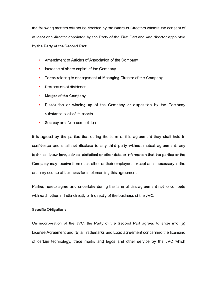 Joint Venture Agreement Template India In Word And Pdf Formats Page 6 Of 9