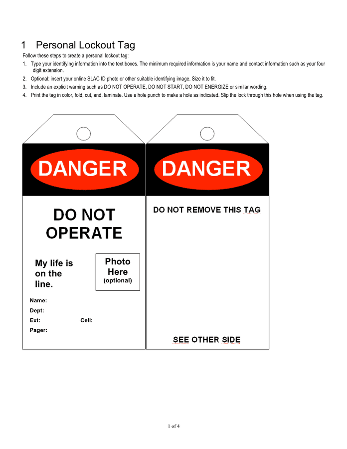 Danger / notice tag templates preview