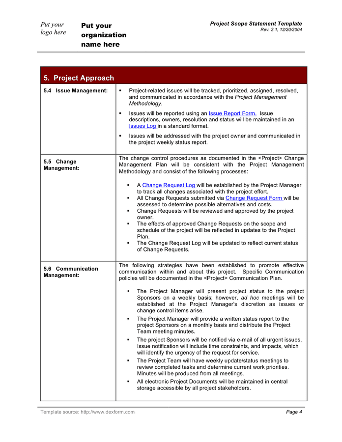 Project scope statement template in Word and Pdf formats ...