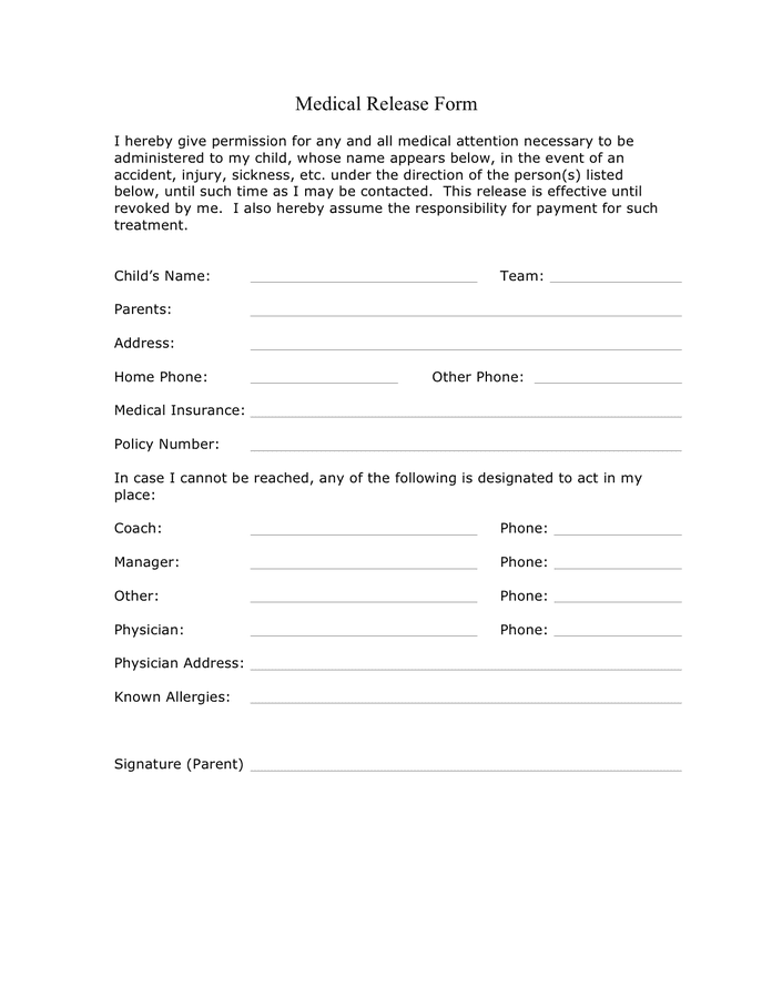 Soccer medical release form preview