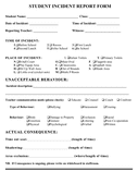 Student incident report form page 1 preview