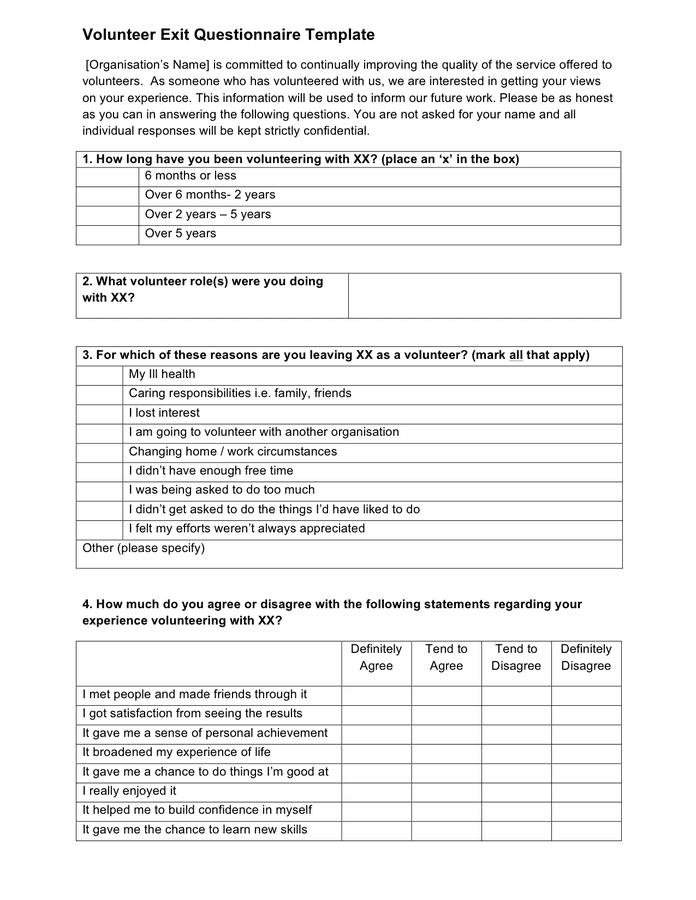volunteer questionnaire template - volunteer exit questionnaire template in word and pdf formats