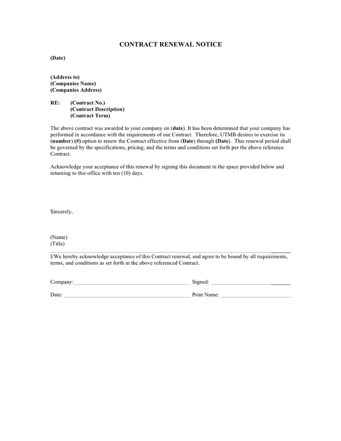 Contract renewal notice page 1