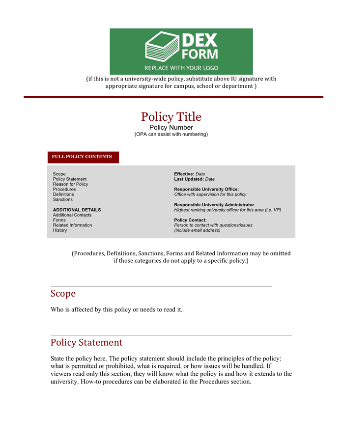 Policies and procedures template preview