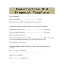 Construction bid proposal template page 1 preview