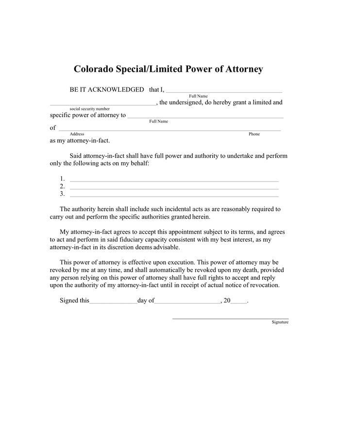 Special / limited power of attorney (Colorado) preview