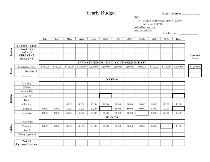 Yearly budget template page 1