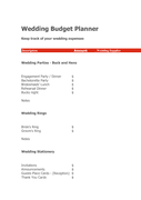 Wedding Budget Planner page 1 preview