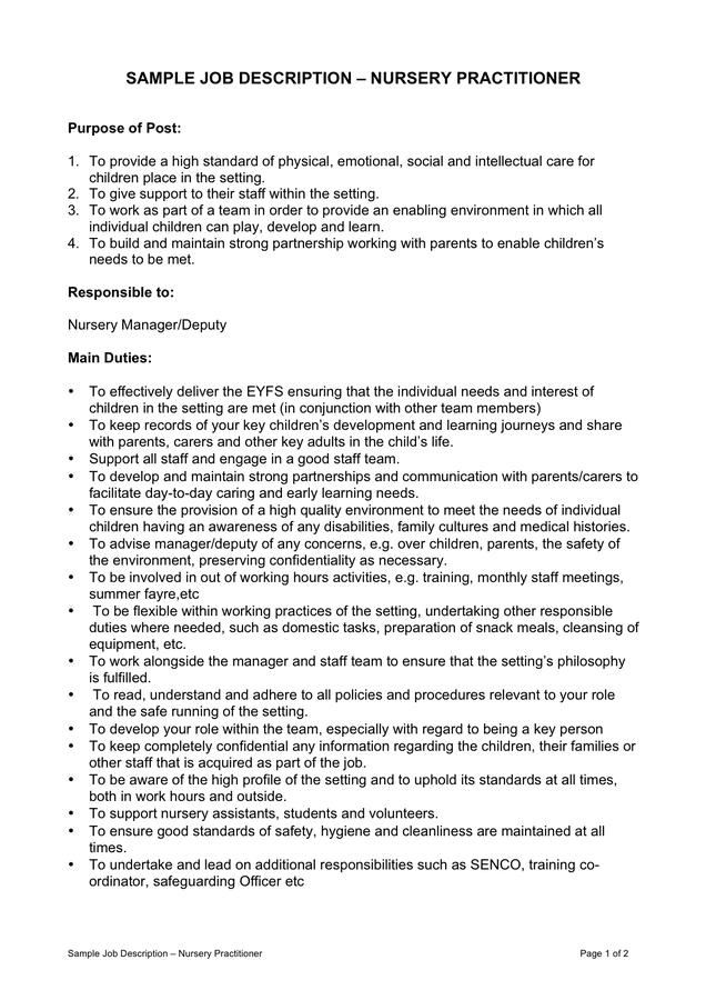 Nursery Practitioner Sample Job Description Preview  Job Description Template Word