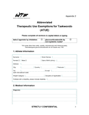 Therapeutic Use Exemptions for Taekwondo form page 2 preview