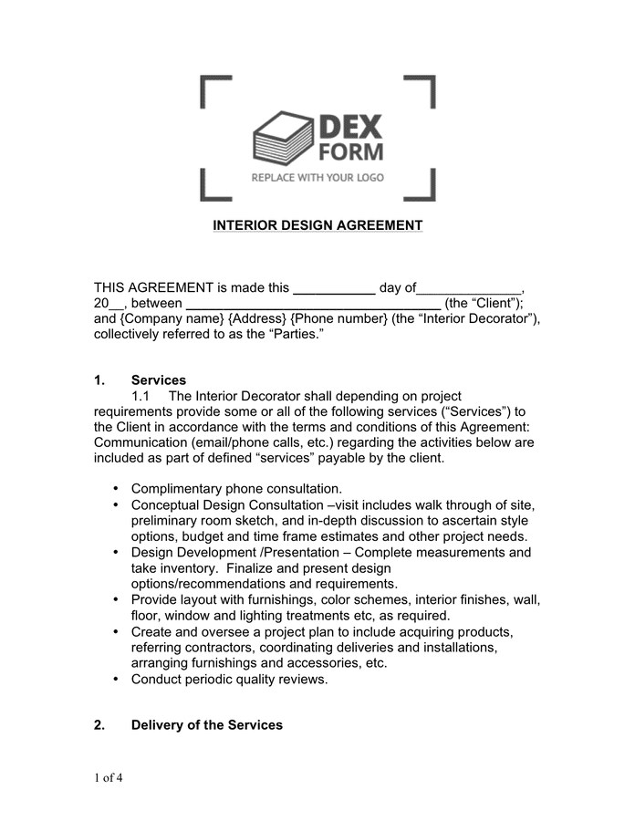 Interior Design Contract Sample