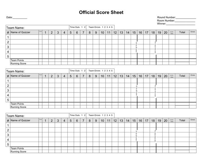 Basketball Score Sheet Pdf