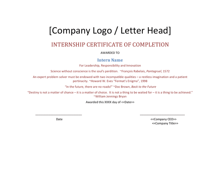 Internship certificate of completion template preview