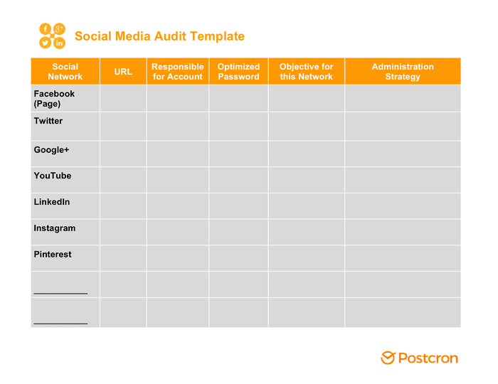 Social media audit template preview