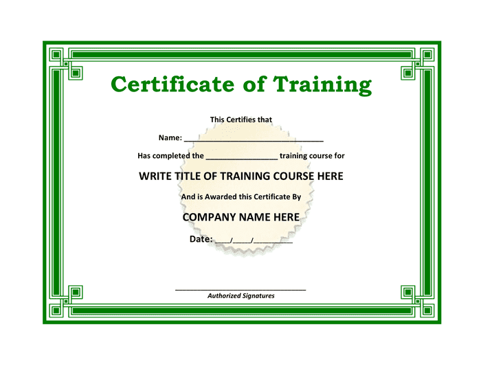 Training certificate template preview