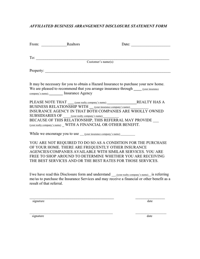 Affiliated business arrangement disclosure statement form page 1