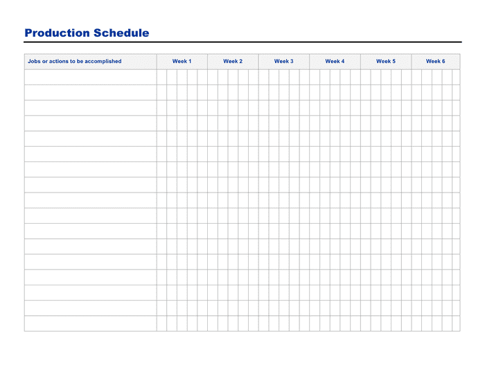 Production schedule form preview