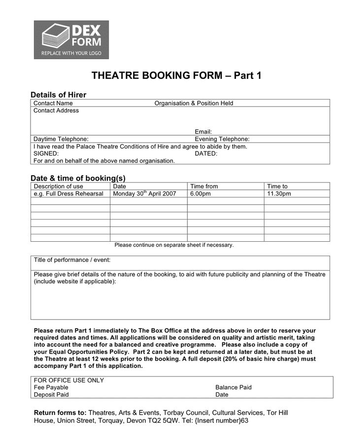 Theatre booking form page 1