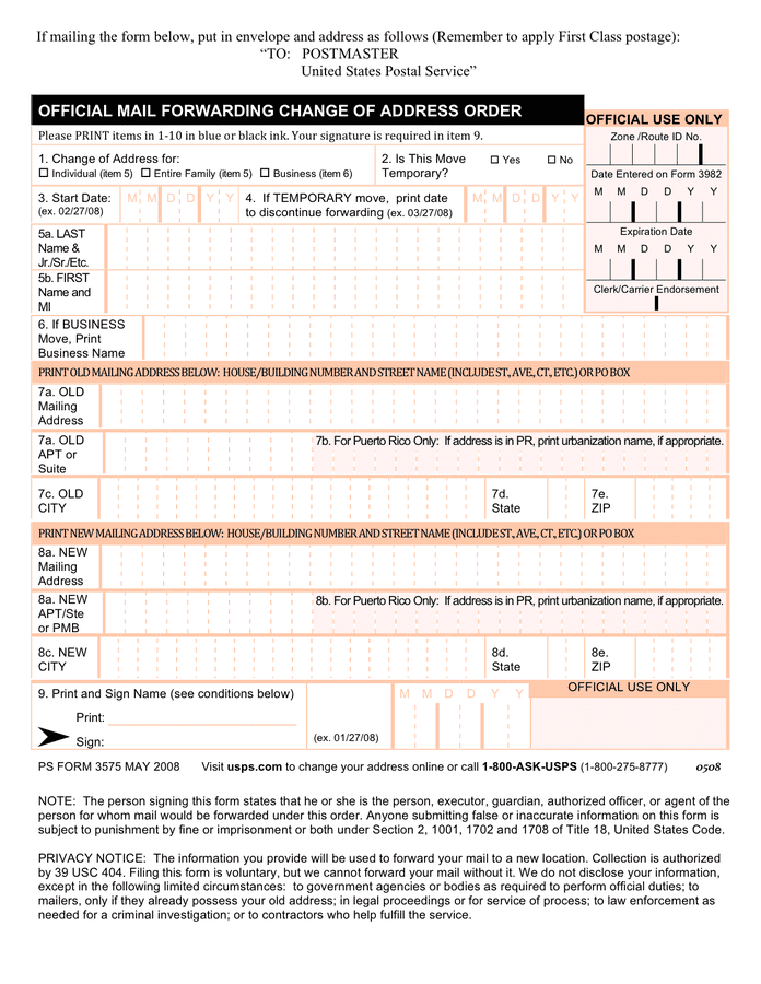 Usps change of address form page 1