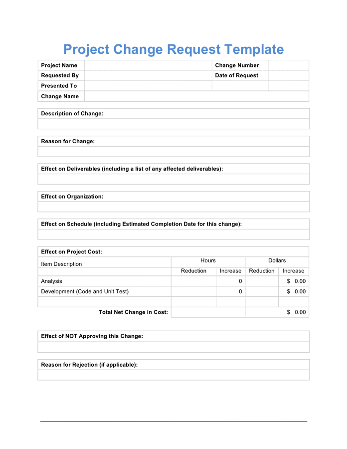 Simple Change Request Form 9