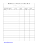 Firearm inventory sheet template page 1 preview
