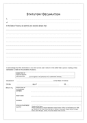 Statutory declaration form (Canada) page 1 preview