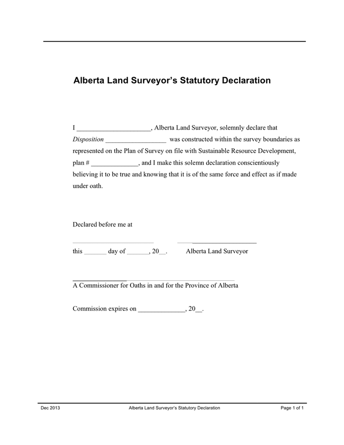 Land surveyor's statutory declaration (Canada) preview