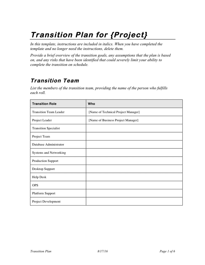 Project Transition Plan Template In Word And Pdf Formats