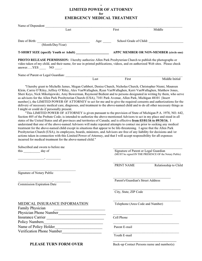 Limited medical power of attorney form preview