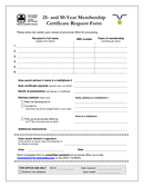 Membership Certificate Request Form page 1 preview