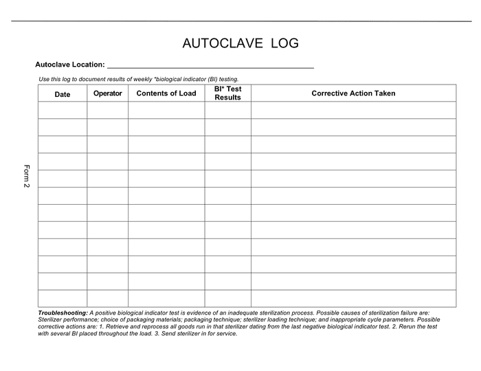 Autoclave log sample page 1