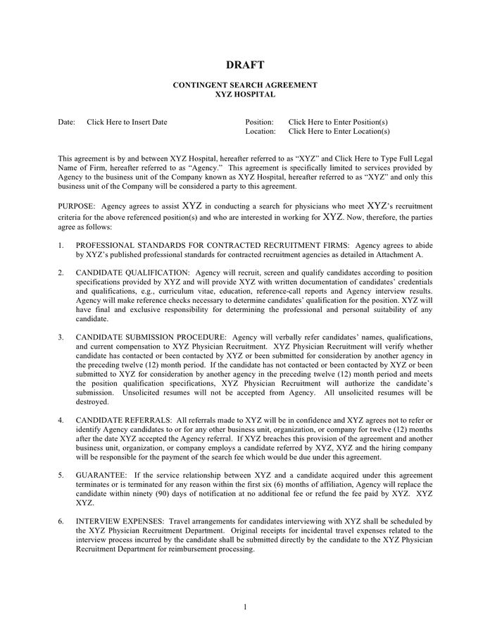 Contingent search agreement template page 1