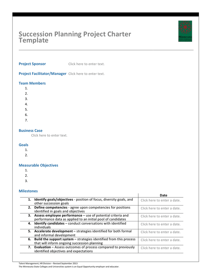 Succession planning project charter template page 1