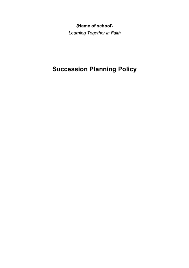 School succession planning policy page 1