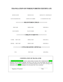 Birth certificate translation template page 1 preview