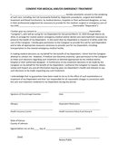 Consent for medical and/or emergency treatment form page 1 preview