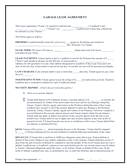 Garage lease agreement page 1 preview