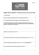 Armed forces community covenant grant application form page 1 preview