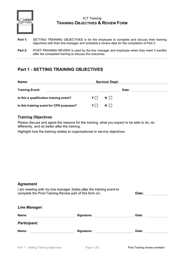 Training objectives & review form preview