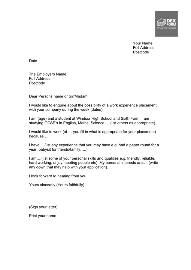 Sample letter for work experience preview