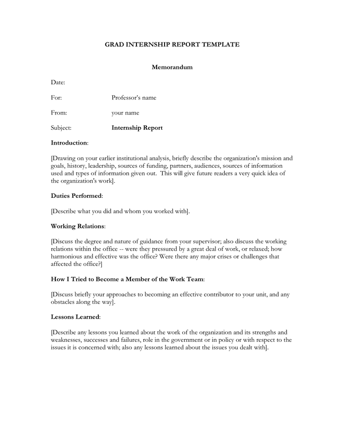 Grad internship report template preview