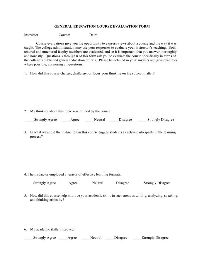 General education course evaluation form page 1