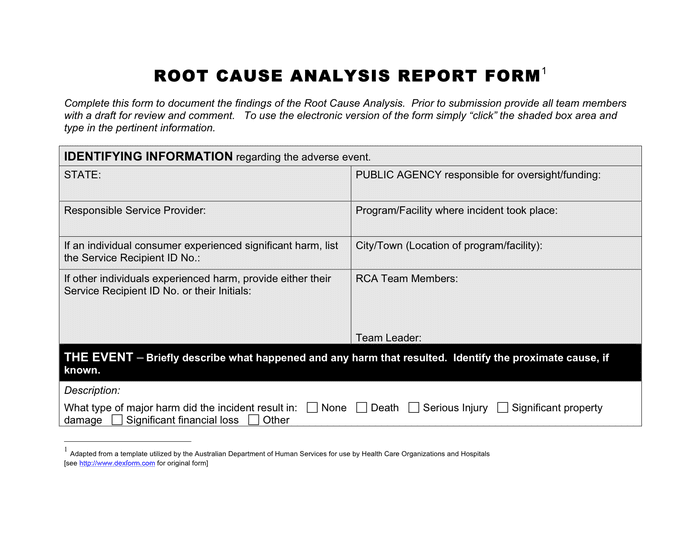 Root cause analysis report form page 1