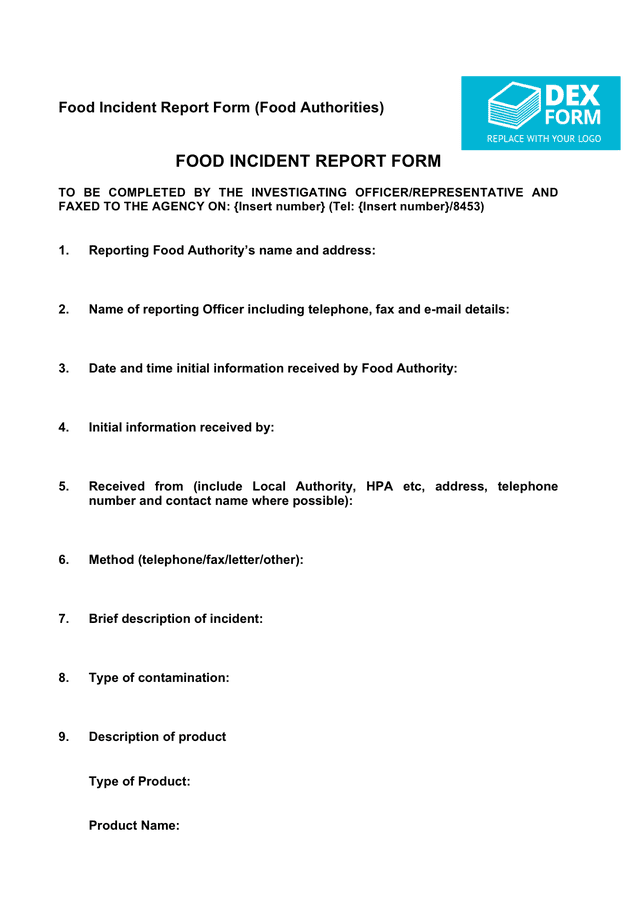 Food Incident Report Form (UK) preview