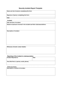 Security Incident Report Template page 1 preview