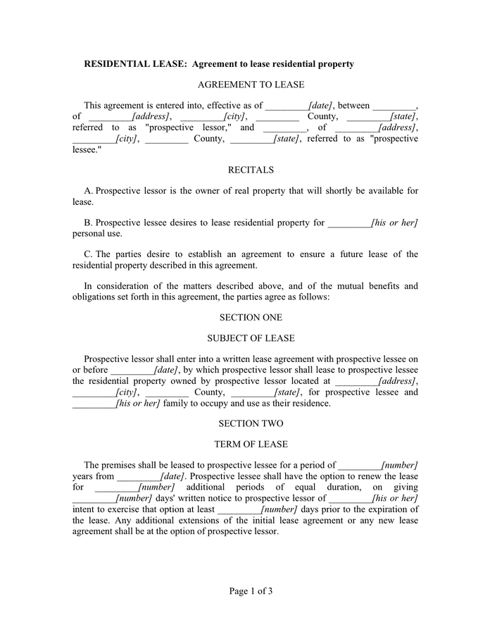 Residential lease agreement template page 1