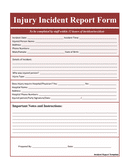 Injury Incident Report Form page 1 preview
