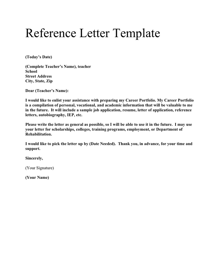 Reference letter template preview