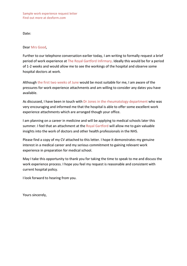 Sample Work Experience Request Letter